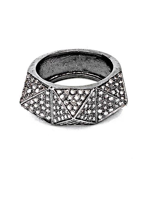 Three Pyramid Diamond Ring