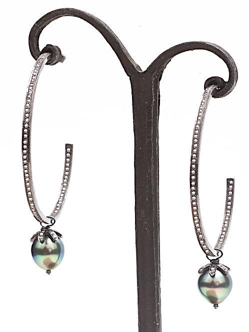 Diamond Hoop Teardrop Tahitian Pearl Earring