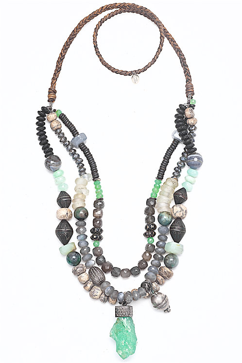 Diamond Chrysoprase Nugget Mixed Gemstone Necklace