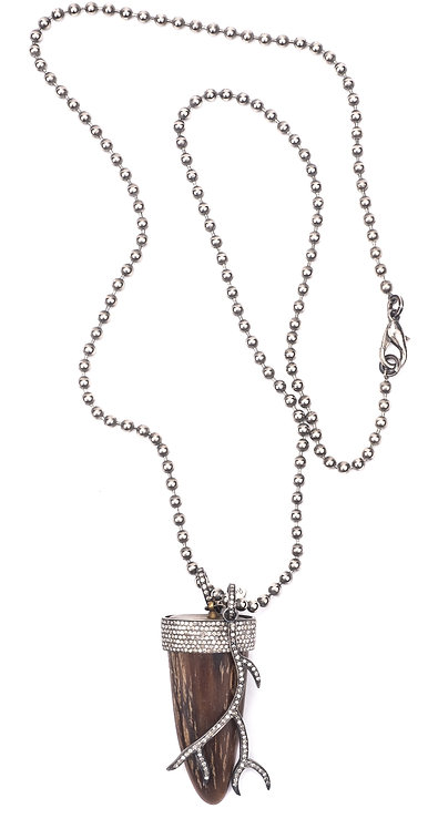 Diamond Horn & Branch Ball Chain Necklace