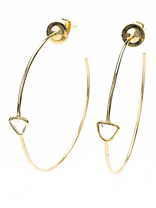 Sliced Diamond 14K Gold Hoop Earrings