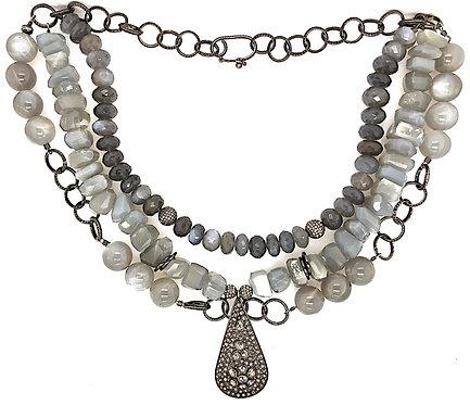Three Strand Moonstone Diamond Necklace