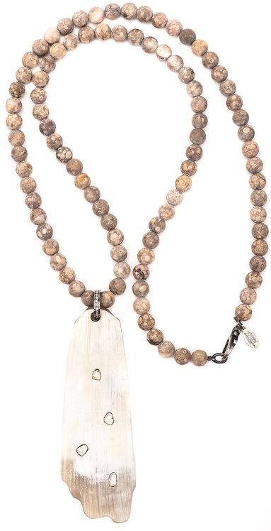 Sparkling Sliced Diamond Horn Jasper Necklace