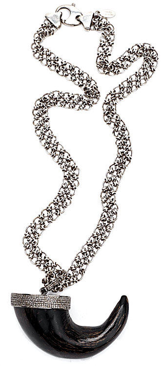 Diamond Capped Horn Antique Silver Chain Necklace