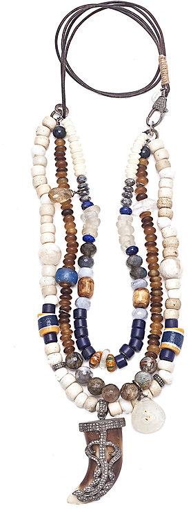Diamond Encrusted Horn Gemstone Necklace