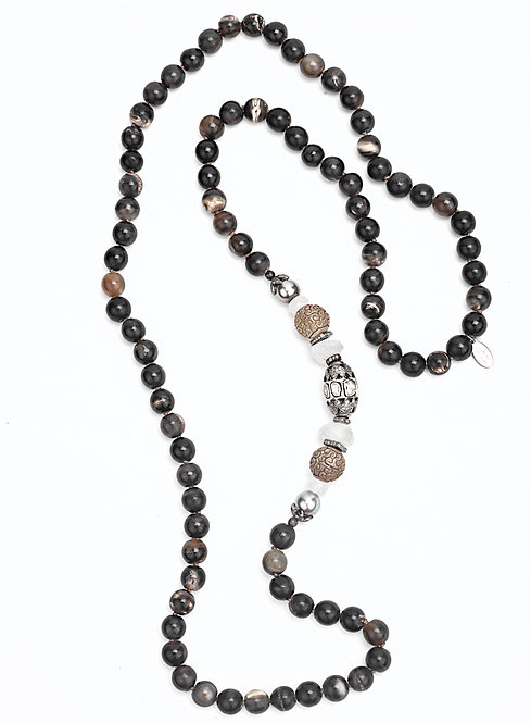 Diamond Tahitian Pearl Carved Agate Horn Necklace