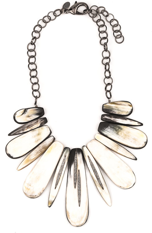 Natural Carved Horn Diamond Statement Necklace
