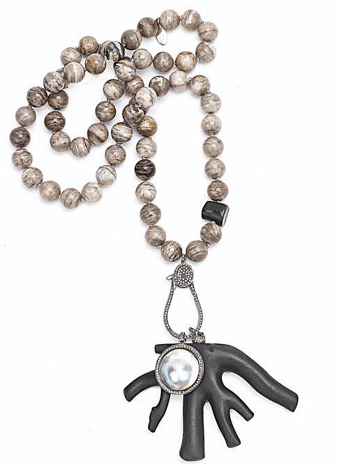 Diamond Pearl Coral Branch Jasper Necklace