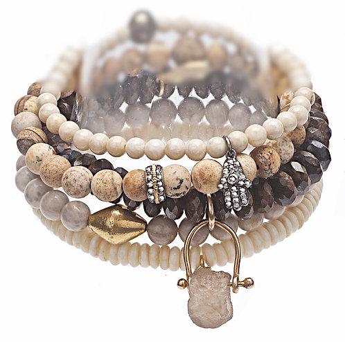 Diamond 14K Gold Five Stack Bracelet Set