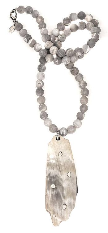 Sliced Diamond Horn Modern Agate Necklace