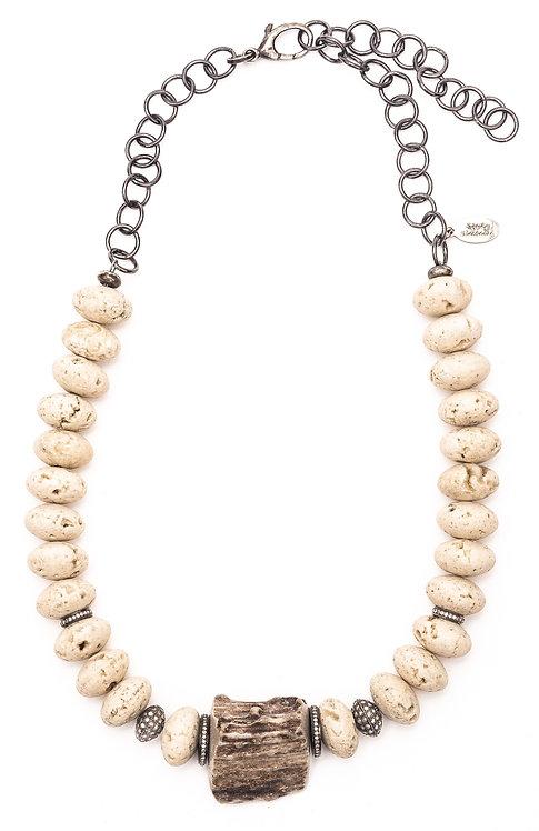 Diamond Antler Italian Travertine Necklace