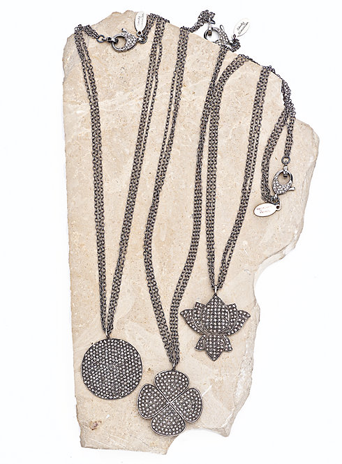 Diamond Lotus & Disc Multi-Chain Necklace