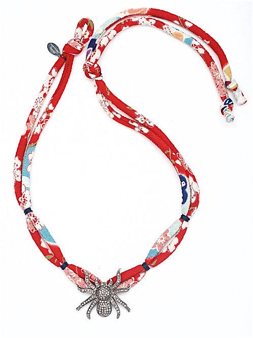 Sparkling Diamond Spider Harajuku Silk Necklace