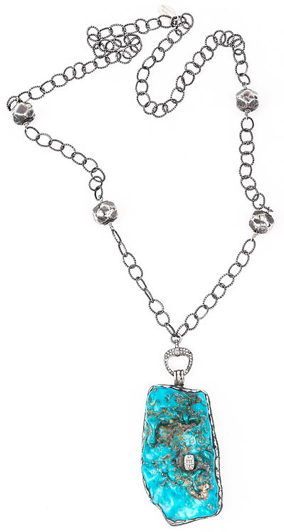 Diamond Natural Turquoise Chain Necklace
