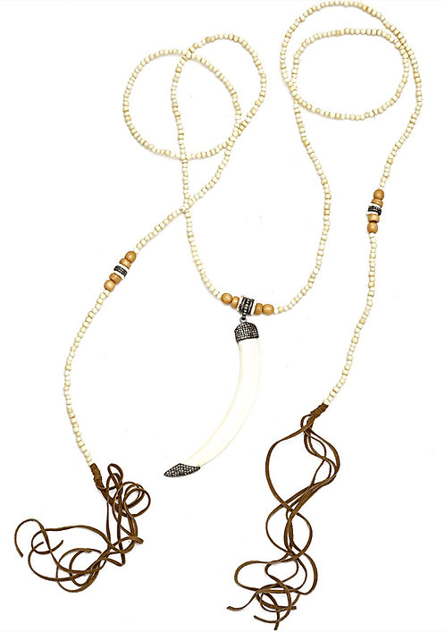 Diamond Tusk Bone Lariat Necklace