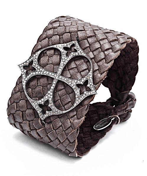Diamond Maltese Cross Braided Leather Cuff