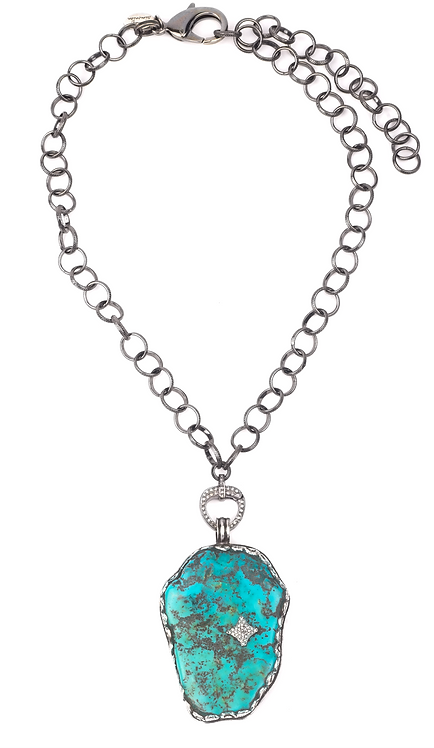 Natural Turquoise And Diamond Chain Necklace