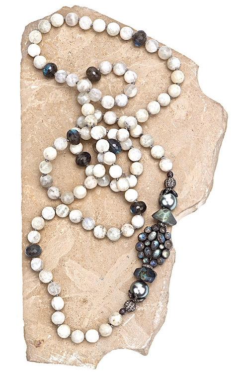 Diamond, Labradorite, Moonstone Tahitian Necklace