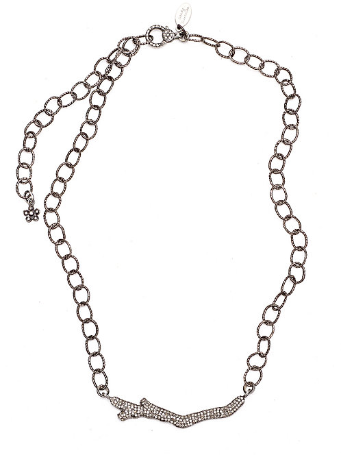 Diamond Branch Textured Chain Necklace