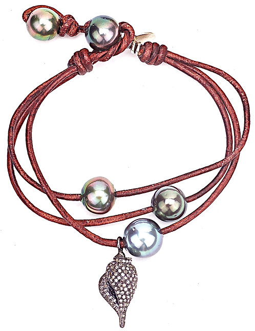 Tahitian Pearl Diamond Seashell Leather Bracelet