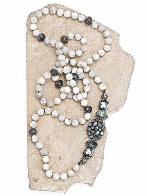 Diamond Labradorite, Moonstone Tahitian Necklace
