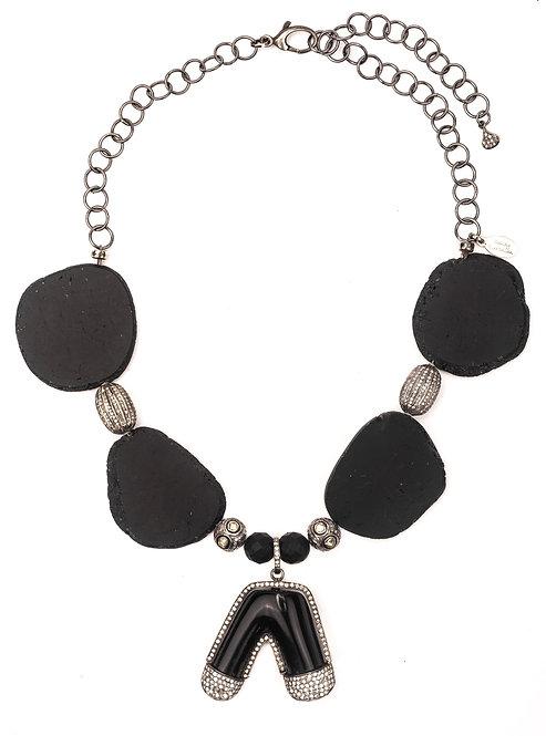 Diamond Black Coral Tourmaline Necklace