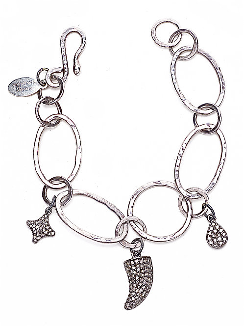 Diamond Charm Hand Forged Chain Bracelet