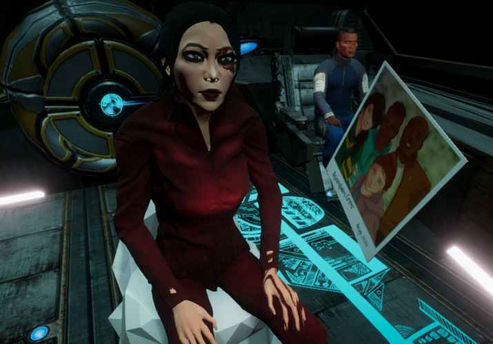 Faraday, the player character investigating a photograph
