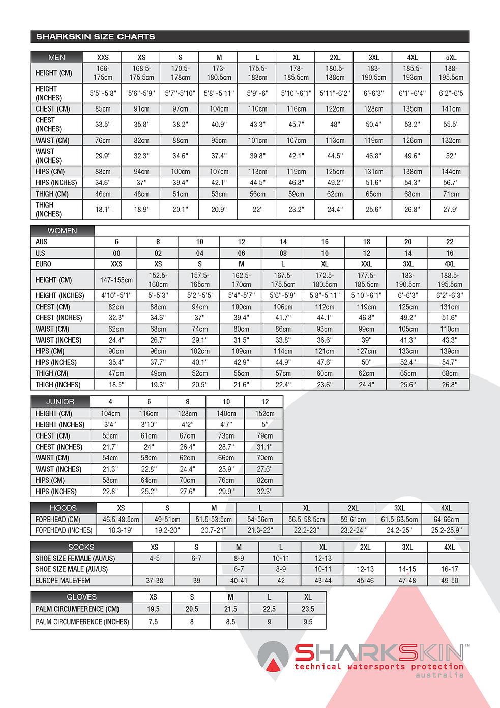 Sharkskin 2014 Size Chart.png