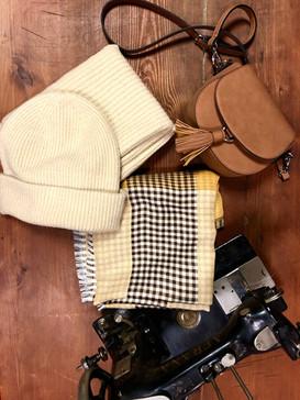 Mütze, Schal, Loop, Tasche * beige
