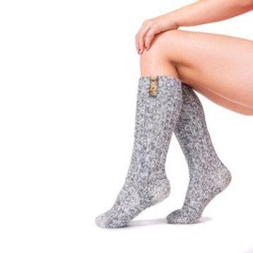 Wool sock kids light grey medium blazing orange label size 29-33