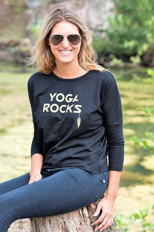 YOGA ROCKS tshirt women black