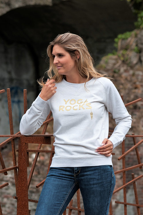 YOGA ROCKS sweater women cream heather grey