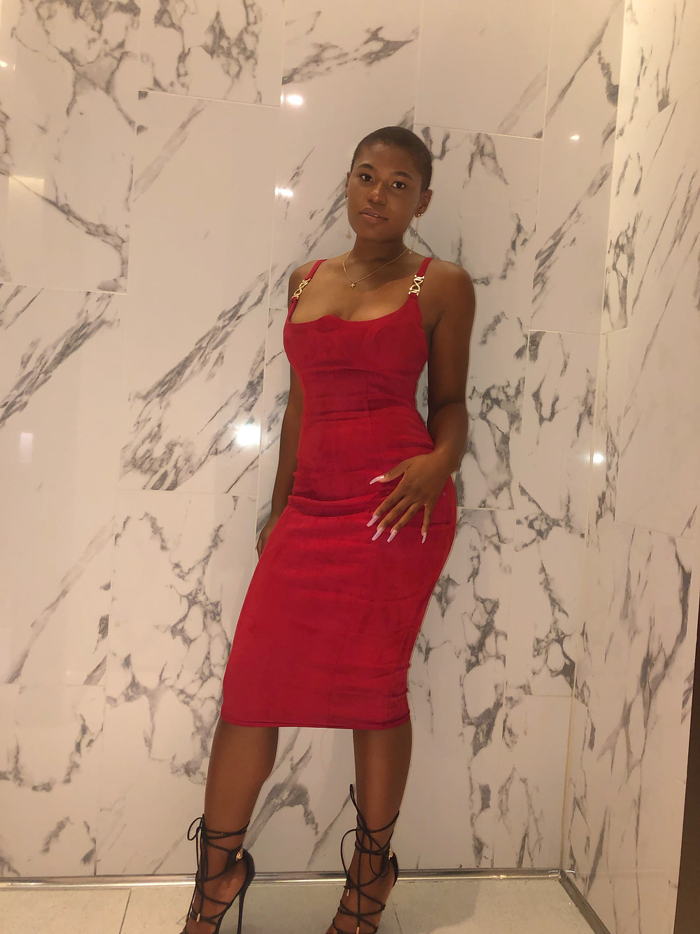 red suede dress