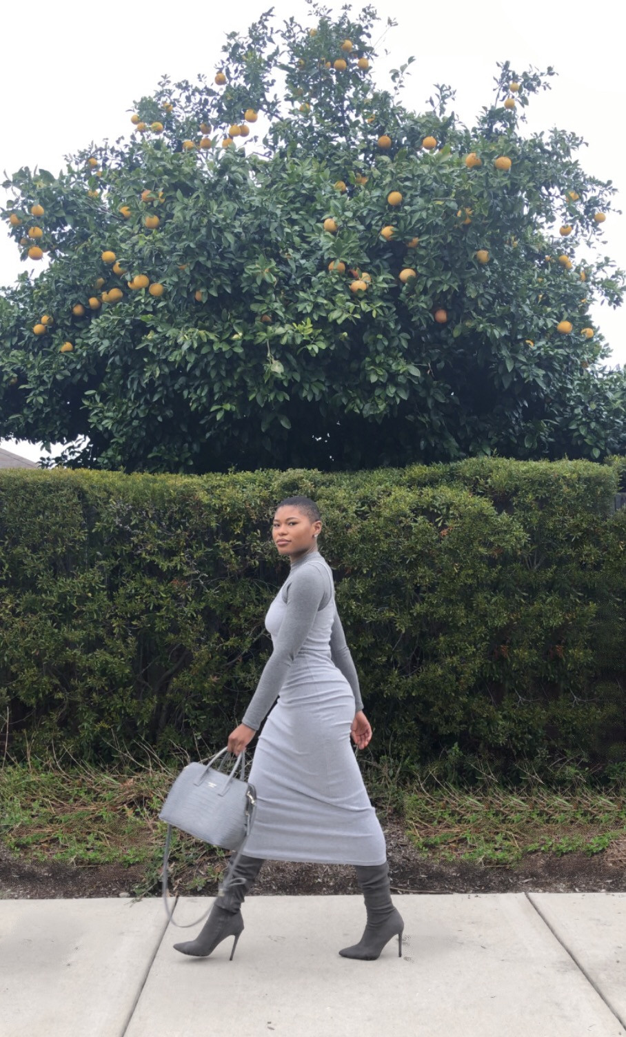 gray maxi outfit strutting
