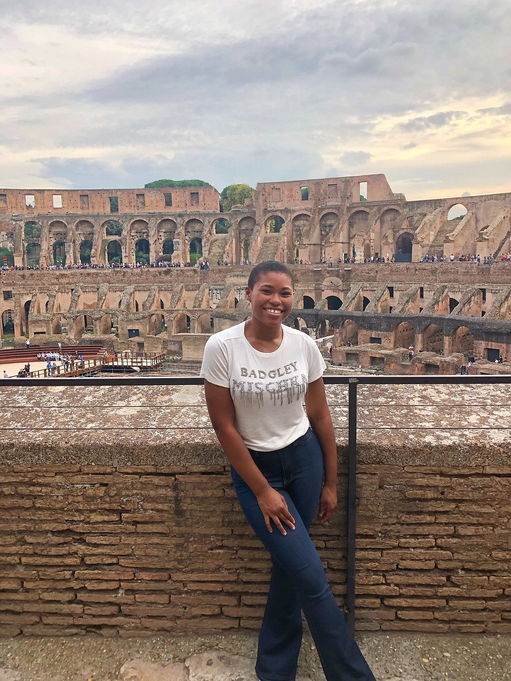 posing at the Colosseum