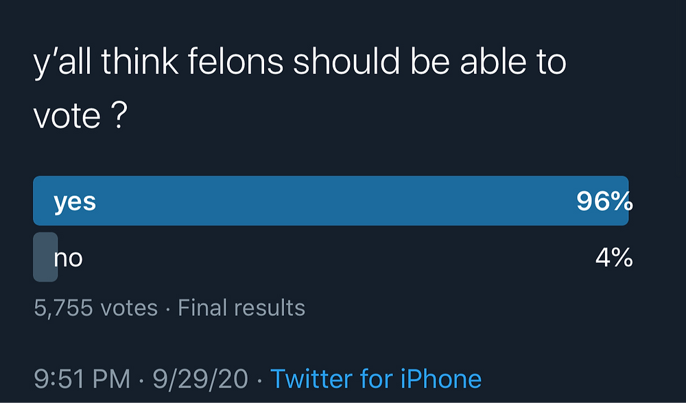 survey of ex-felons ability to vote