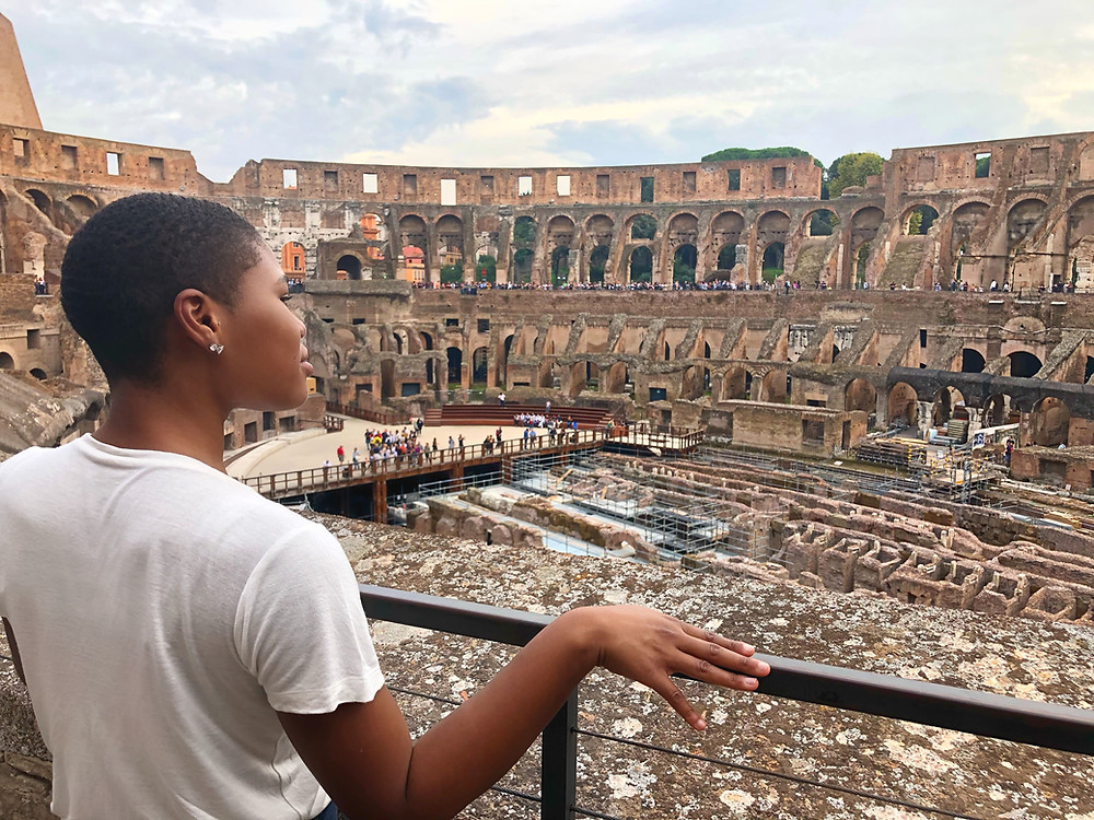 me looking in the Colosseum
