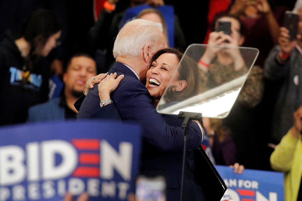 Kamala Harris hugging Joe Biden 2020