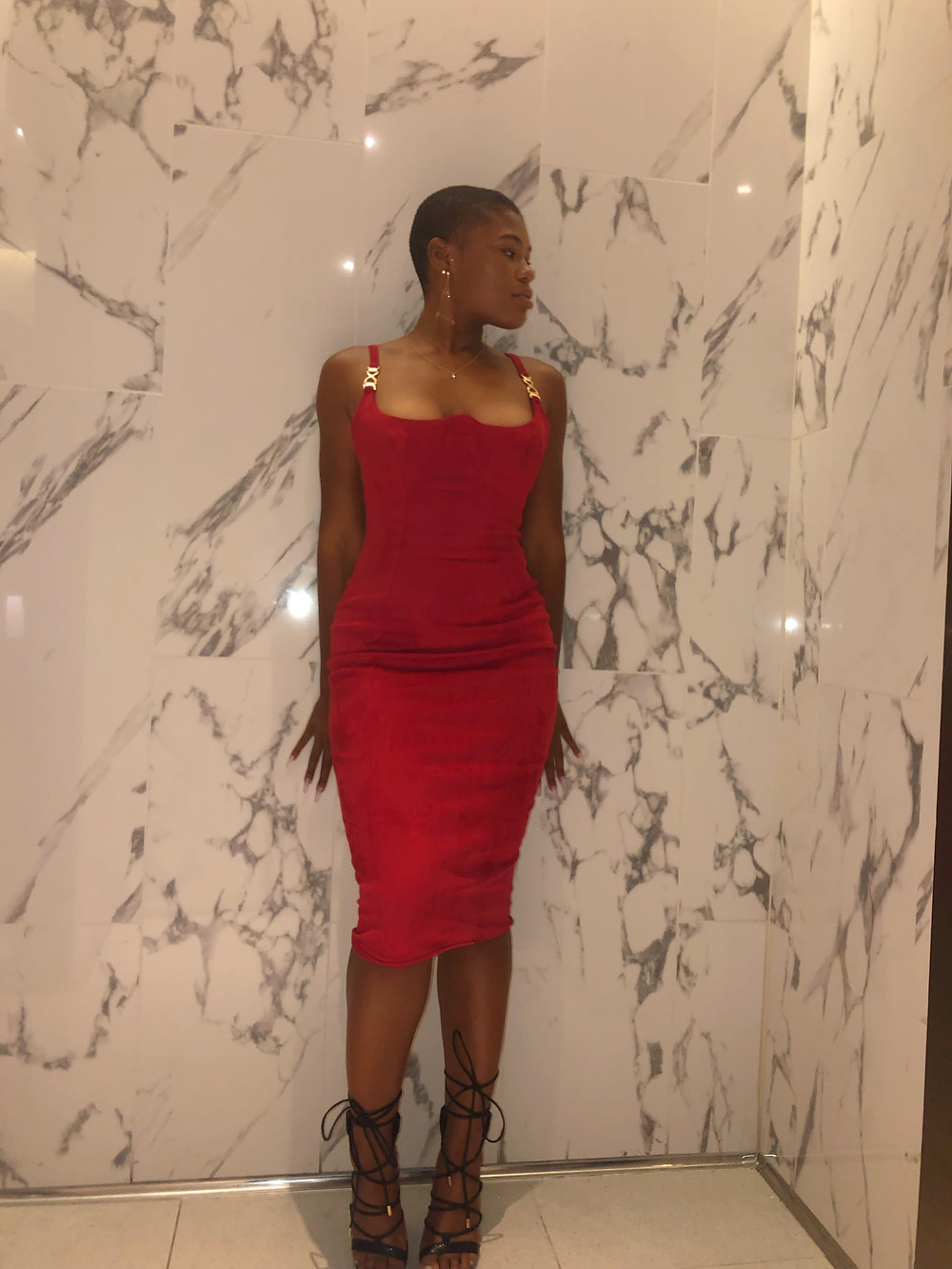 front view red suede dress
