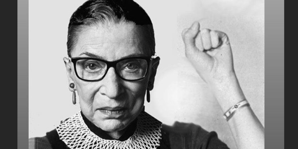 Justice Ruth Bader Ginsburg with raised fist