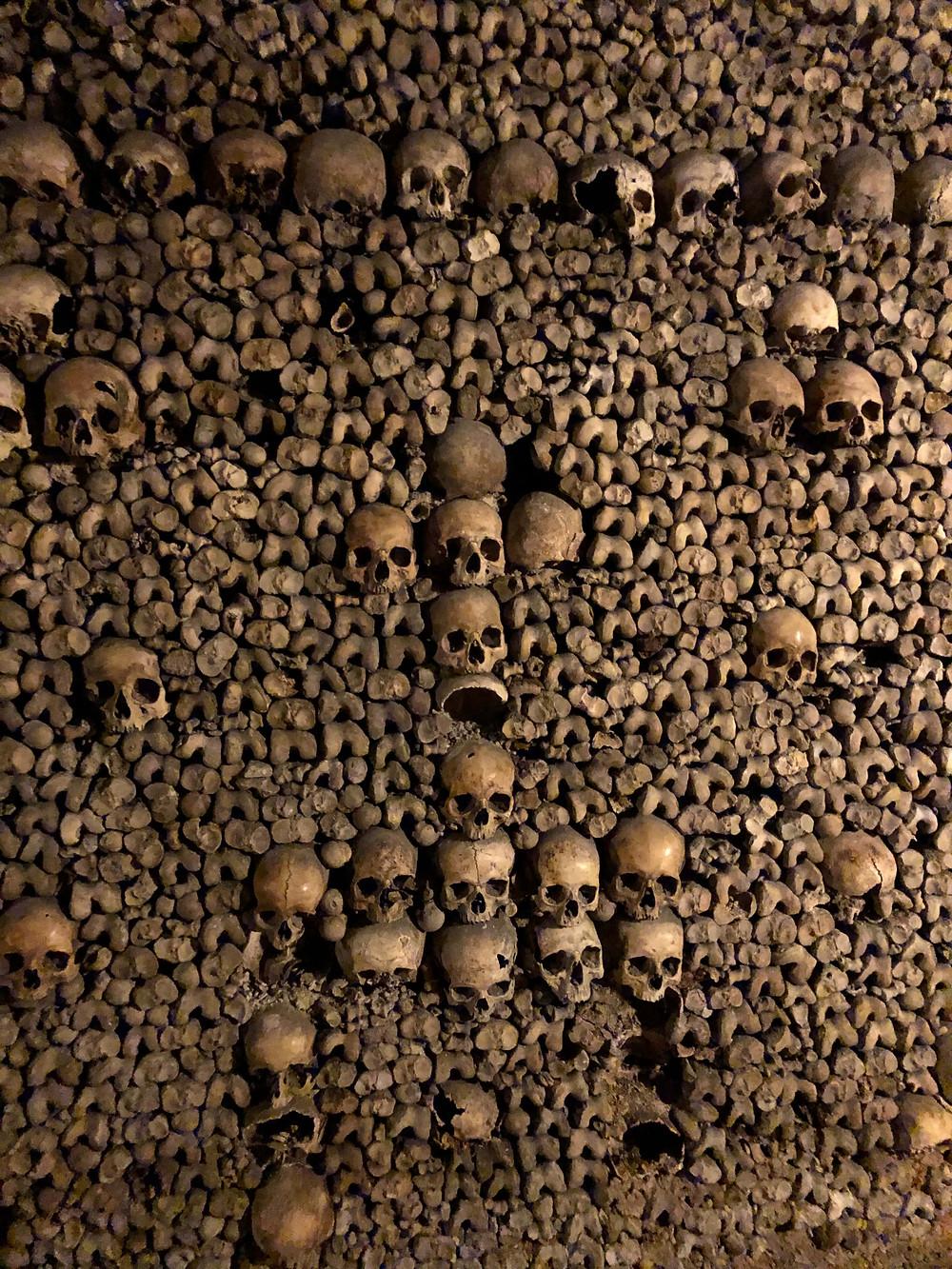 skull and bones Catacombs display Paris