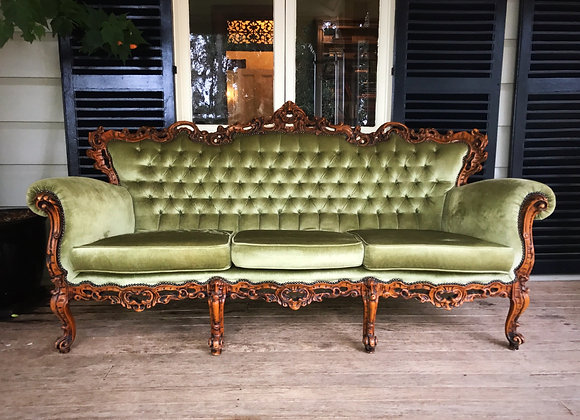 Green French Provincial Lounge and Arm Chairs
