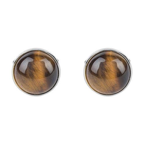 Round Cabochon Cufflink Silver Tigers Eye