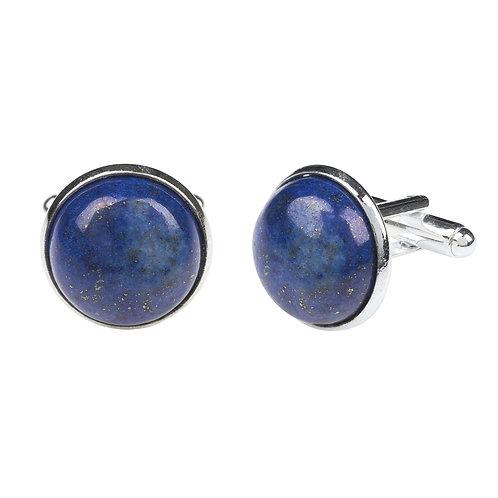 Round Cabochon Cufflink Silver Lapis Lazuli