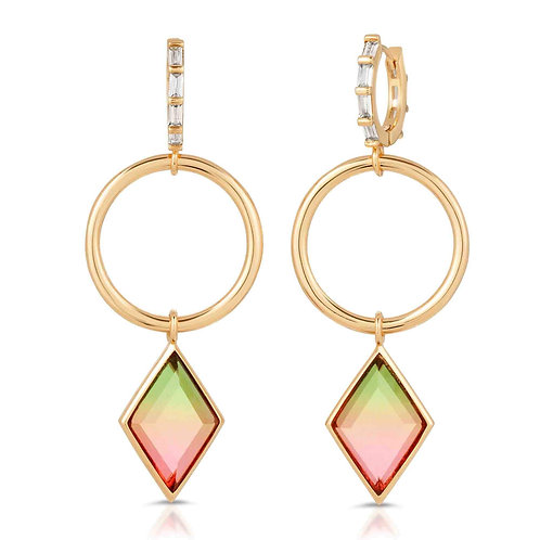 Trinity Gold Watermelon Quartz Earrings