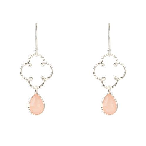 Open Clover Gemstone Drop Earring Silver Rose Quartz