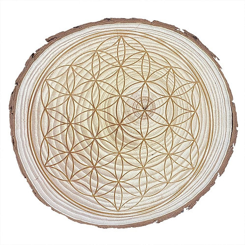 Wooden Flower of Life Crystal Grid