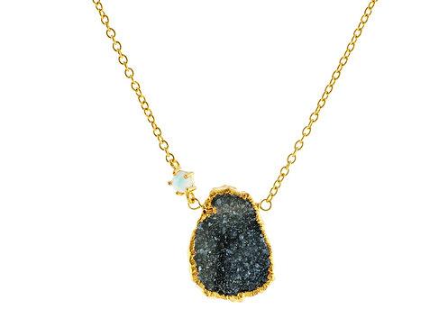 Drusy-Quartz & Opal Necklace