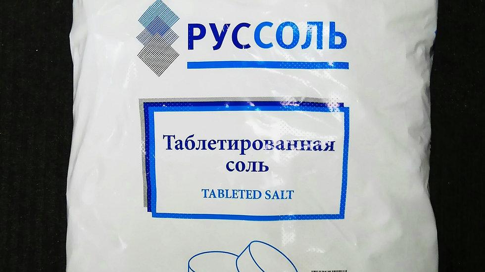 Соль поваренная пищевая выварочная ЭКСТРА таблетированная затаренная в мешок по